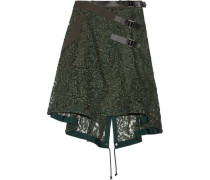 Twill and leather-trimmed guipure lace wrap skirt
