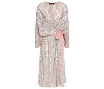 Embellished Velvet-trimmed Georgette Wrap Dress Blush