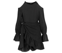 Cold-shoulder embroidered cotton wrap dress