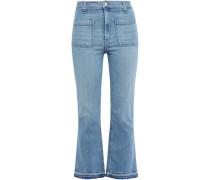 Frayed High-rise Kick-flare Jeans Light Denim