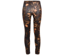 Cropped Printed Stretch Cotton-jersey Leggings Dark Brown