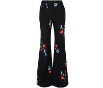 Floral-print crepe flared pants