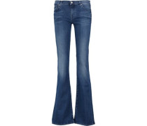 Low-rise whiskered bootcut jeans