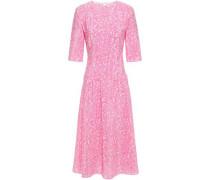 Woman Lylee Pleated Printed Silk-crepe Midi Dress Baby Pink
