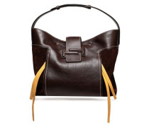 Suede-paneled Leather Tote Chocolate Size --