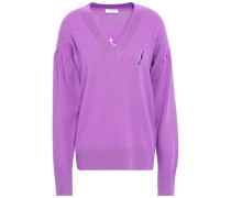 Woman Embroidered Wool And Cashmere-blend Sweater Violet