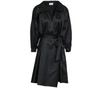 Satin Mini Wrap Dress Black