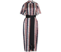 Belted printed silk-satin midi shirt dress