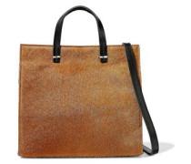 Petit Simple calf hair-paneled leather shoulder bag