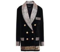 Double-breasted Embellished Metallic Jacquard And Velvet Blazer Black