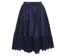 Broderie Anglaise-paneled Cotton And Silk-blend Skirt Midnight Blue
