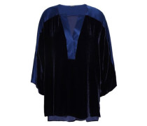 Nolia Satin-trimmed Velvet Blouse Navy