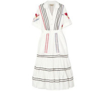Woman Cherry Blossom Embroidered Cotton-poplin Midi Dress White
