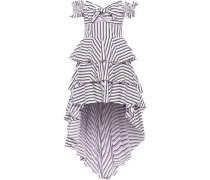 Artemis Off-the-shoulder Tiered Striped Cotton-blend Poplin Dress White