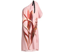 One-shoulder printed twill dress