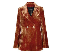 Boycott Double-breasted Crushed-velvet Blazer Copper