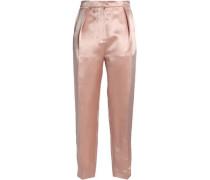 Silk-blend satin tapered pants