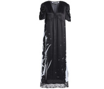 Lace-trimmed Metallic Printed Silk-satin Midi Dress Black