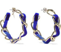 Mirto Gold-tone Velvet Hoop Earrings Blue Size --
