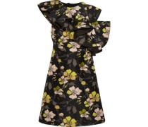 Ruffled one-shoulder floral-jacquard mini dress