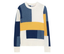 Thora Color-block Intarsia-knit Sweater Off-white