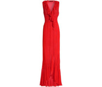 Wrap-effect ruffled pointelle knit gown