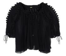 Jocelyn lace-trimmed silk-georgette blouse