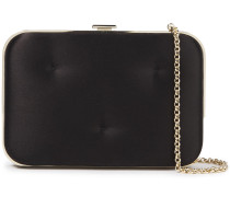Woman Chubby Quilted Satin Box Clutch Black