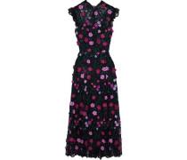 Woman Floral-appliquéd Embroidered Lace Midi Dress Black
