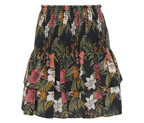 Woman Amari Tiered Floral-print Cotton-broadcloth Mini Skirt Black