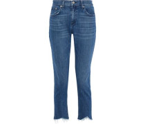 Dre Cropped Distressed Mid-rise Straight-leg Jeans Mid Denim  3