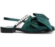 Woman Chelsea Bow-embellished Satin Slingback Point-toe Flats Emerald