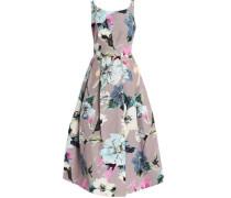 Pleated floral-print cotton-blend cady midi dress
