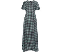Cutout gingham silk maxi dress
