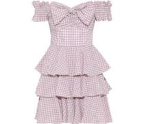 Helena Off-the-shoulder Bow-embellished Gingham Cotton-poplin Mini Dress Blush