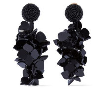 Gold-tone Resin Clip Earrings Black Size --