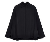 Cape-effect Silk Crepe De Chine Top Black
