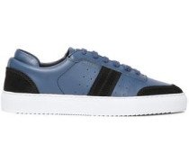 Woman Color-block Leather And Suede Sneakers Navy