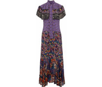 Cape-effect Printed Silk Crepe De Chine And Chiffon Gown Purple