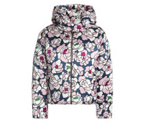 Quilted Floral-print Silk-satin Hooded Down Coat Lilac Size 1