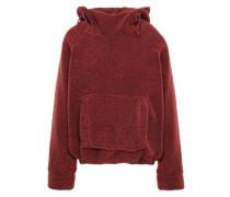 Faux Shearling Hooded Sweatshirt Brick
