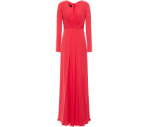 Pleated Mulberry Silk Crepe De Chine Gown