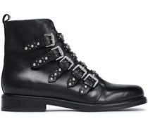 Buckled studded leather ankle boots