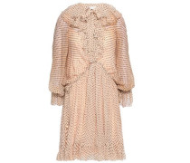 Painted Heart Ruffled Floral-print Silk-georgette Mini Dress Peach Size 0
