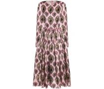 Pleated printed silk-blend midi dress