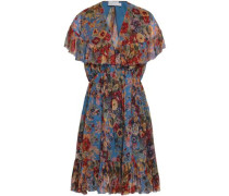 Woman Cutout Floral-print Silk-georgette Mini Dress Multicolor