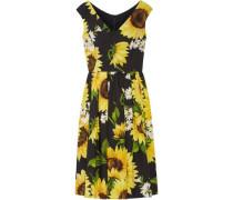 Floral-print Cotton-poplin Dress Yellow