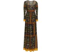 Gathered Printed Chiffon Maxi Dress Black