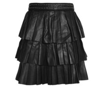Tiered leather mini skirt