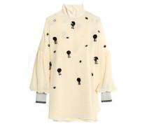 Ribbed knit-trimmed embellished georgette blouse
